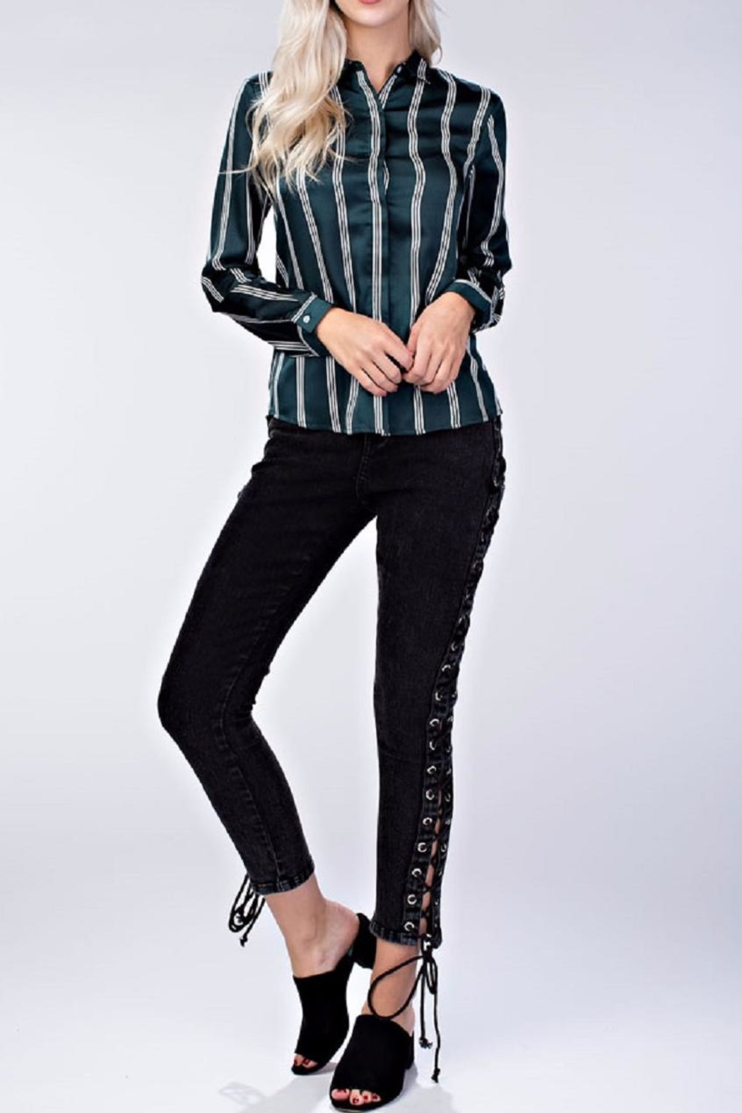 honey belle Stripe Collared Blouse - Front Cropped Image