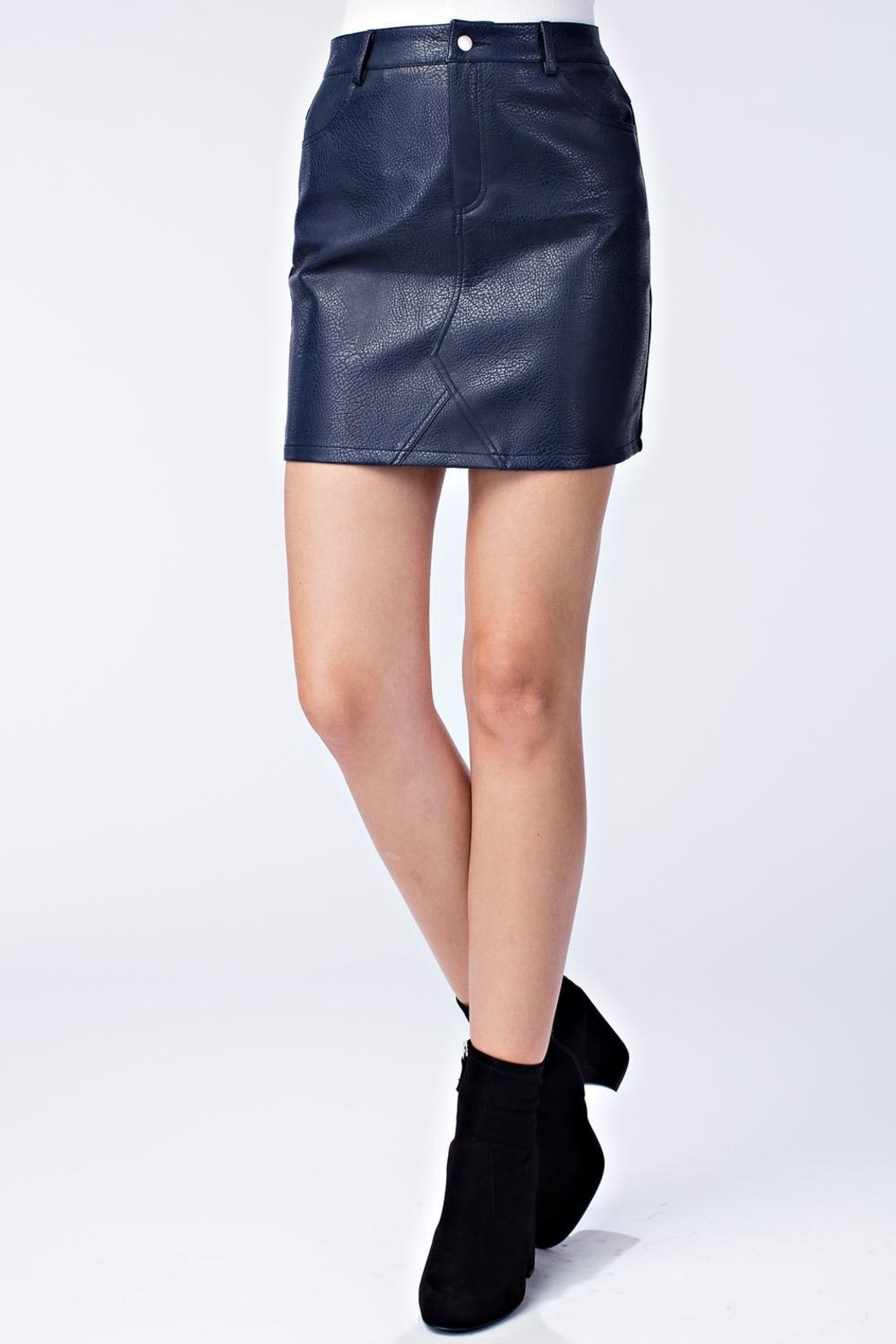 honey belle Vegan Leather Skirt - Front Cropped Image