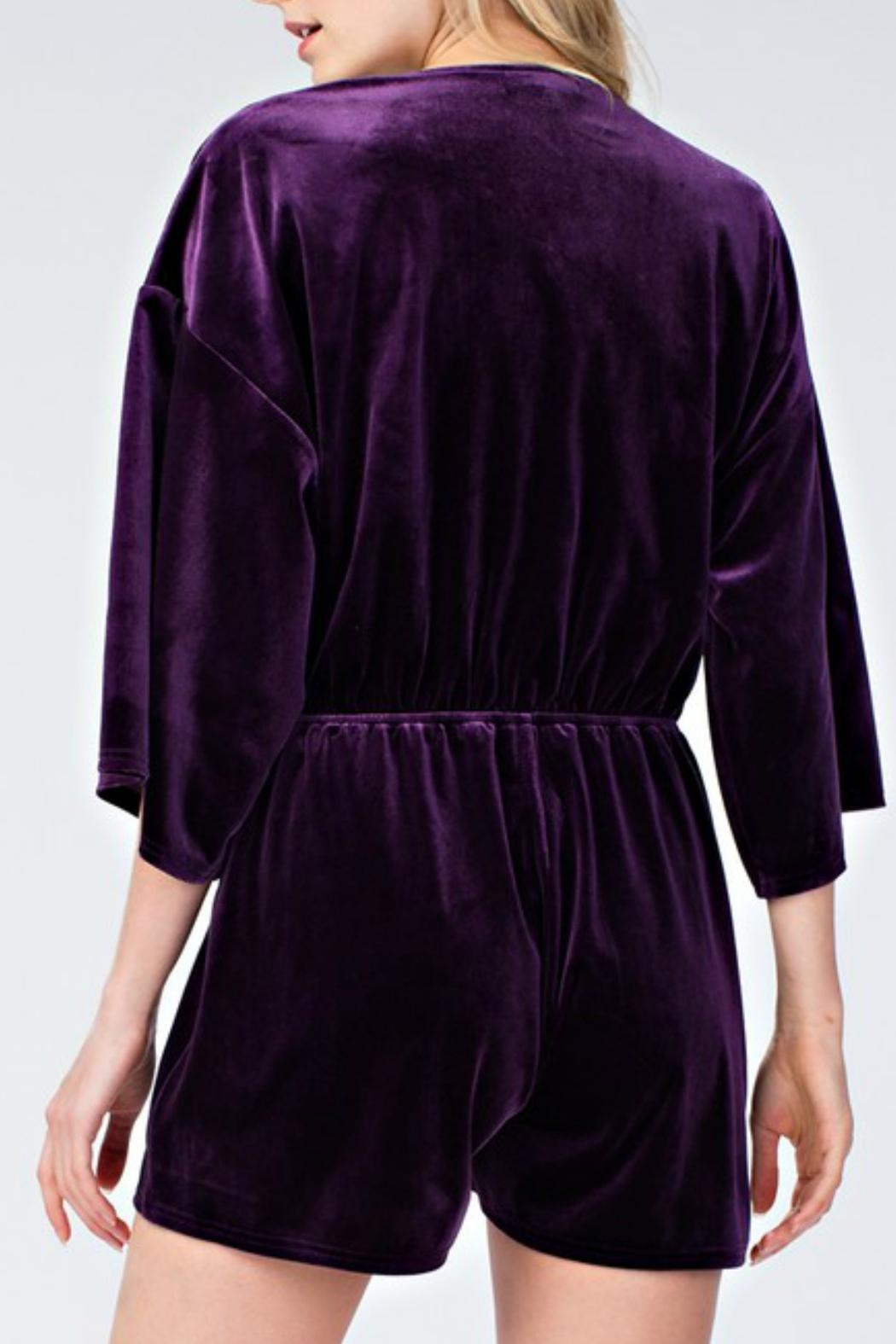 honey belle Velvet Plunge Romper - Back Cropped Image