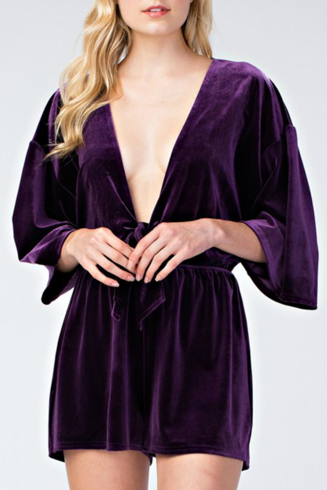 honey belle Velvet Plunge Romper - Main Image