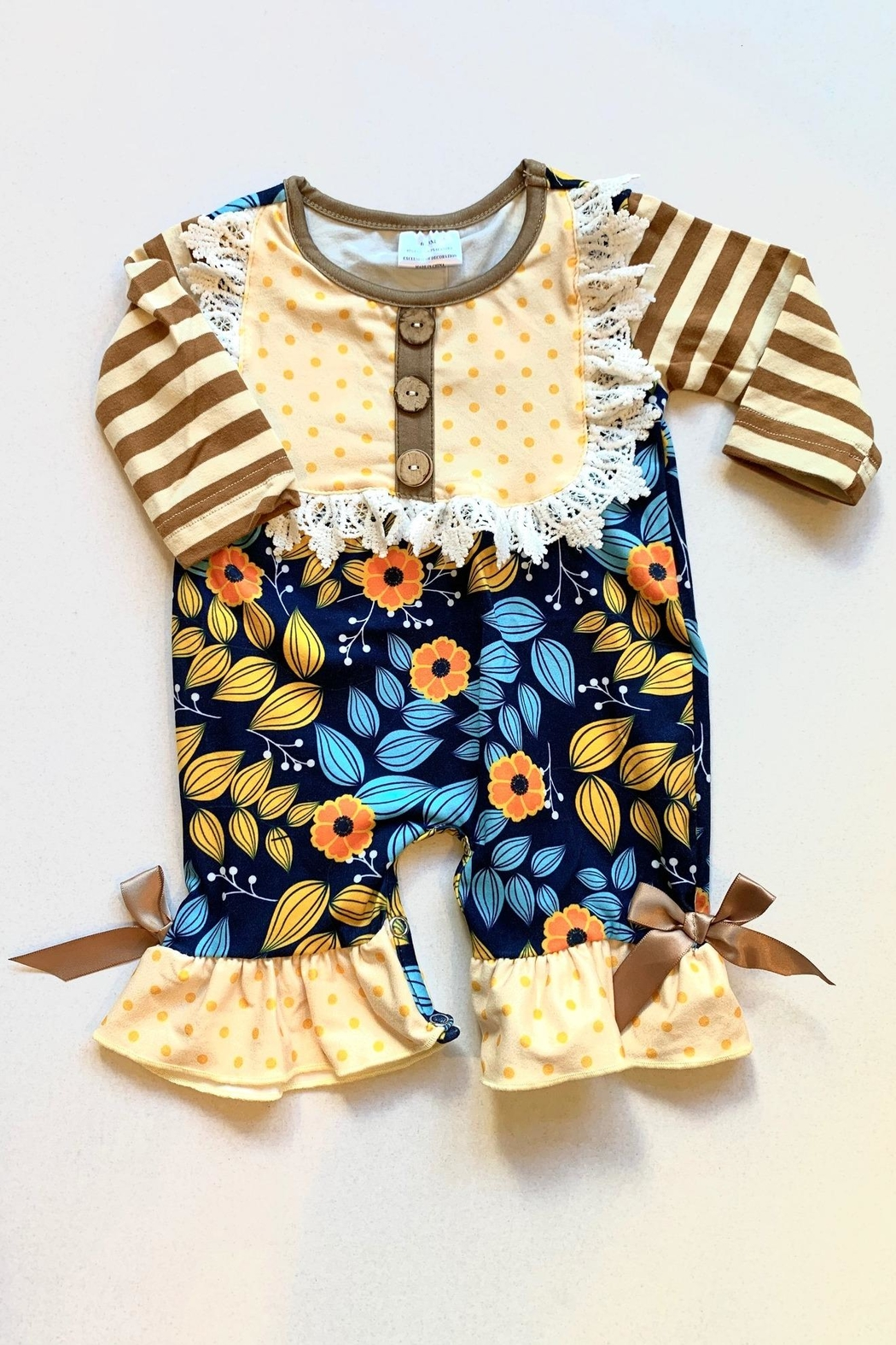 Honey Dew  Fall Harvest Romper - Front Cropped Image
