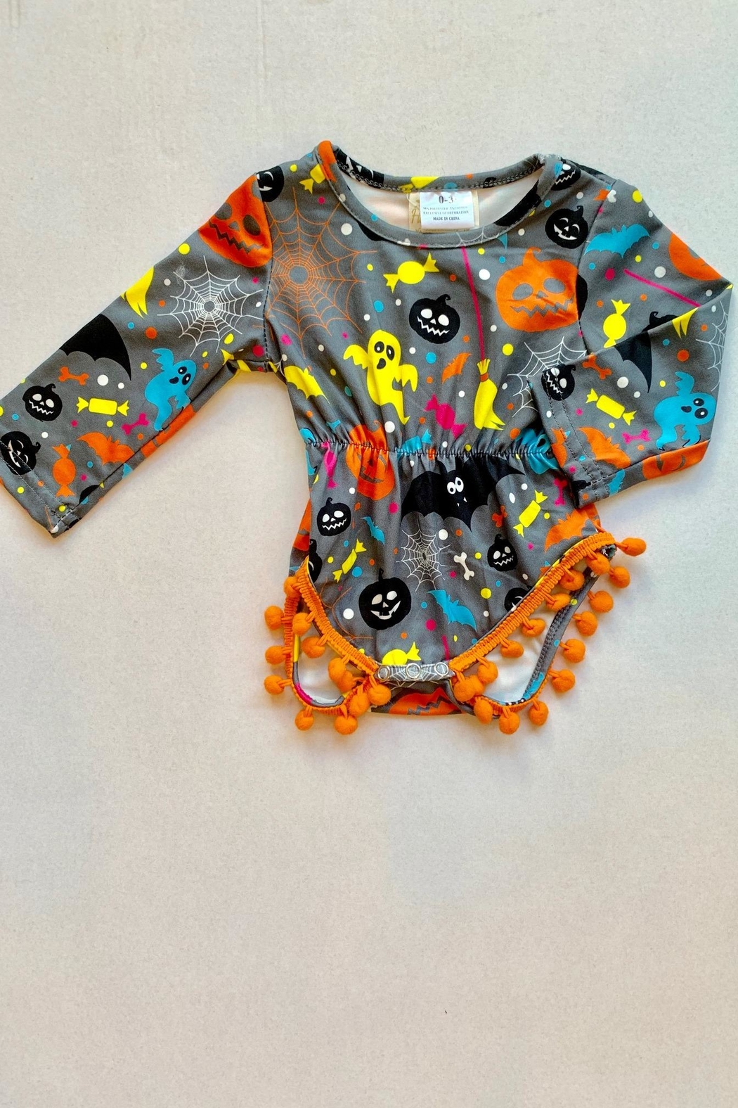 Honey Dew  Gray Spooky Romper - Main Image