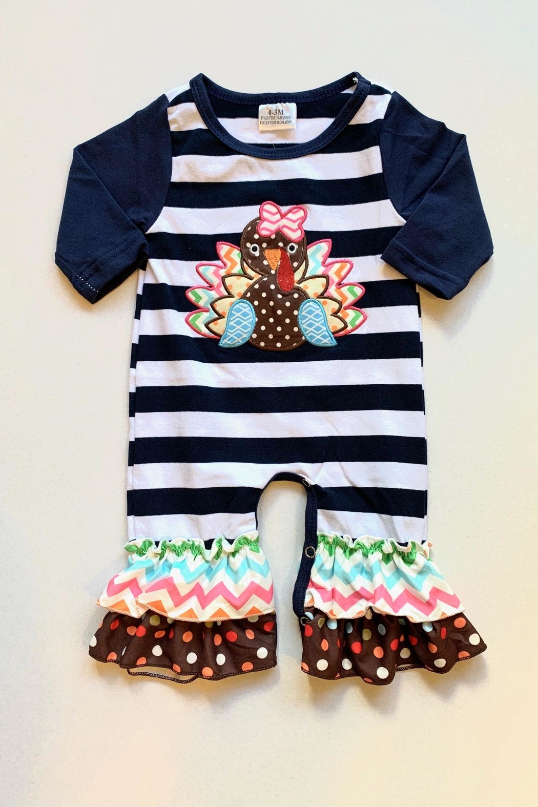 Honey Dew  Stripe Turkey Romper - Main Image