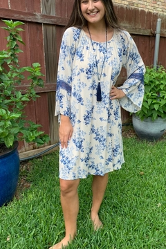 Shoptiques Product: Blue Floral Bell Sleeve Dress