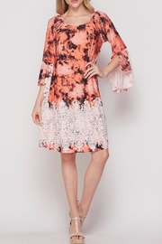 Honey Me Coral  Beauty Bell Sleeve Dress - Product Mini Image