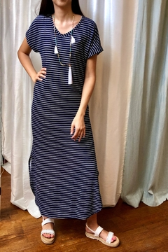 Honey Me Navy-Stripe Maxi Dress - Product List Image