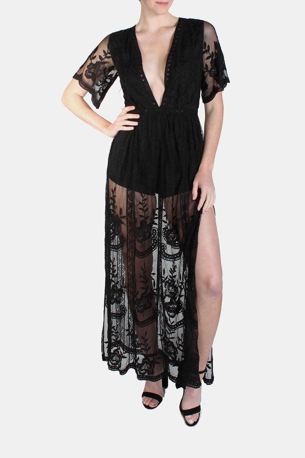 Honey Punch Black Butterfly Maxi-Dress - Back Cropped Image