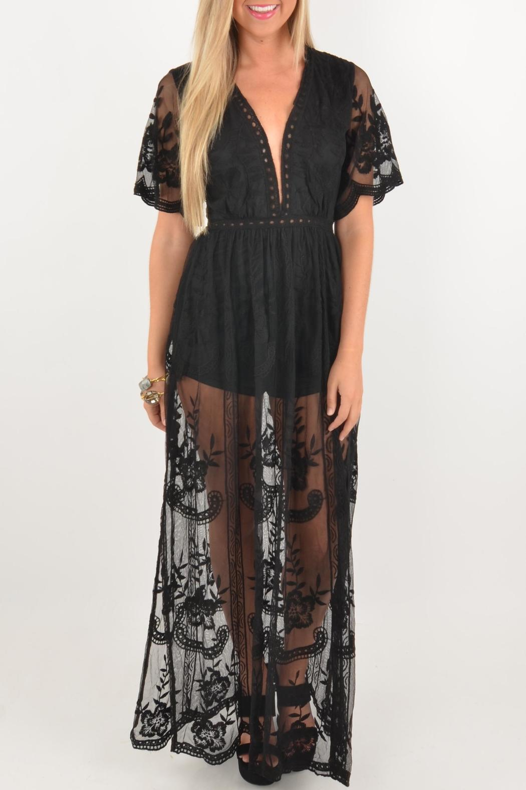 059fed7b8696 Honey Punch Black Lace Romper from Mississippi by Deep South Pout ...