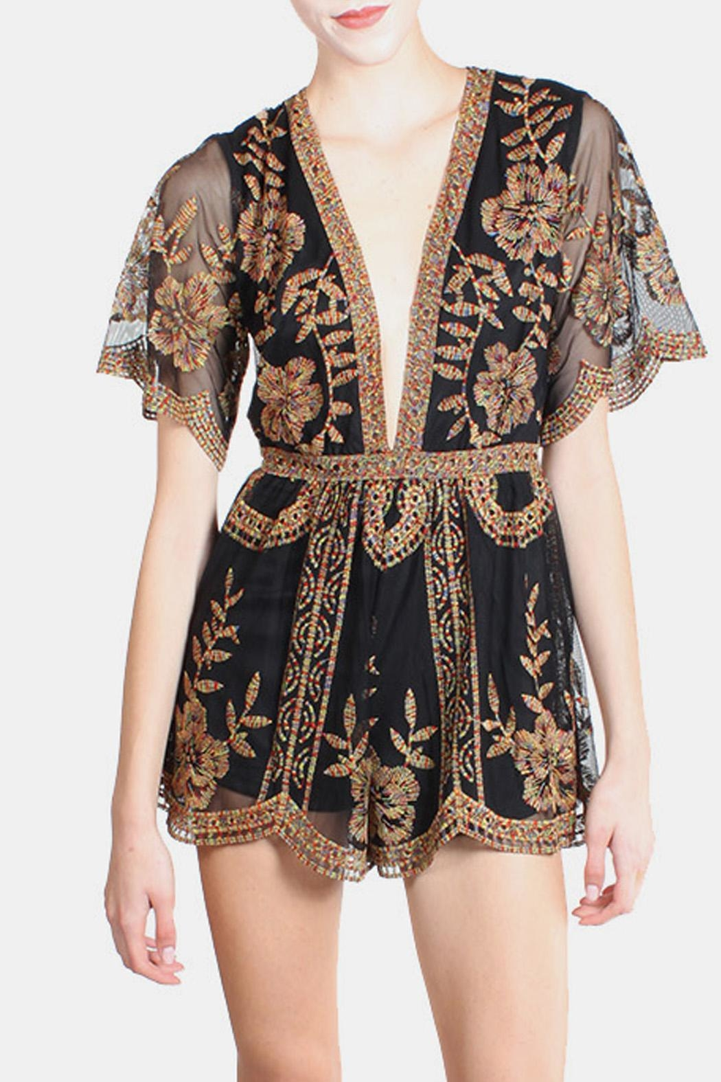 Honey Punch Multicolored Butterfly Lace Romper - Front Full Image