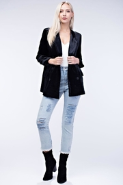 Honey Punch Black Velvet Blazer - Front full body