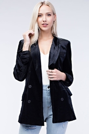 Honey Punch Black Velvet Blazer - Front cropped