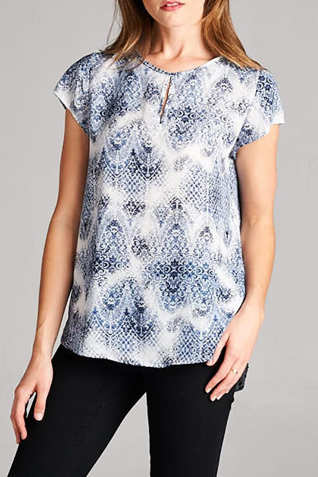 Honey Punch Blue Patterned Top - Main Image
