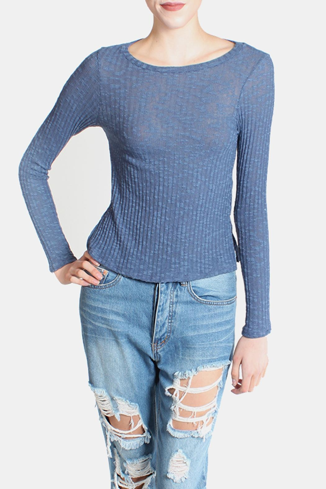 Honey Punch Blue Ribbed Sweater Top - Back Cropped Image