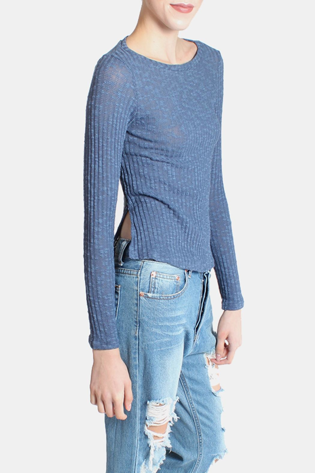 Honey Punch Blue Ribbed Sweater Top from Los Angeles by Goldie's ...