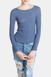 Honey Punch Blue Ribbed Sweater Top - Product Mini Image