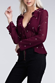 Honey Punch Burgundy Star Top - Side cropped