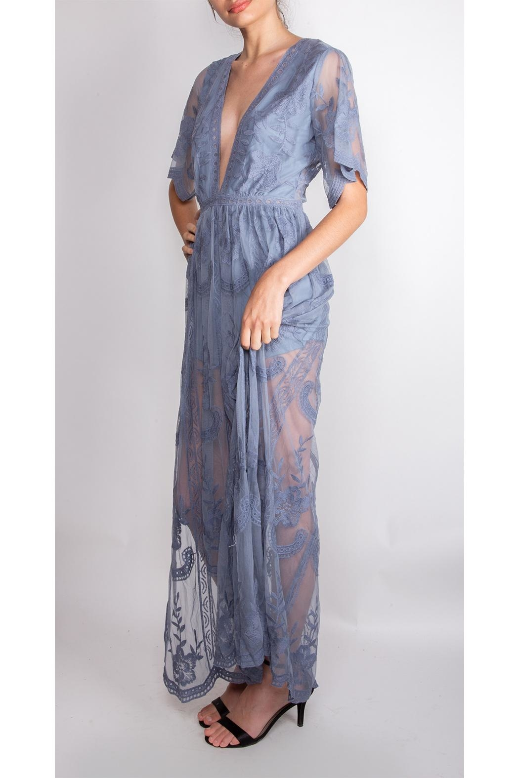 Wild Honey Butterfly Lace Maxi-Dress - Side Cropped Image