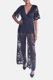 Honey Punch Butterfly Lace Jumpsuit - Front full body