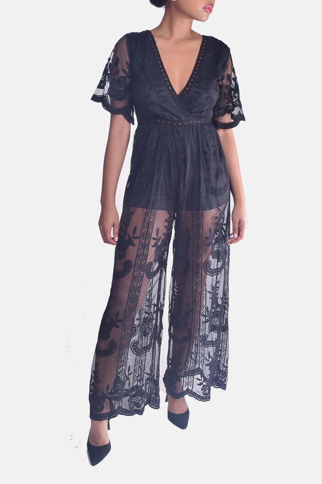 Honey Punch Butterfly Lace Jumpsuit - Main Image