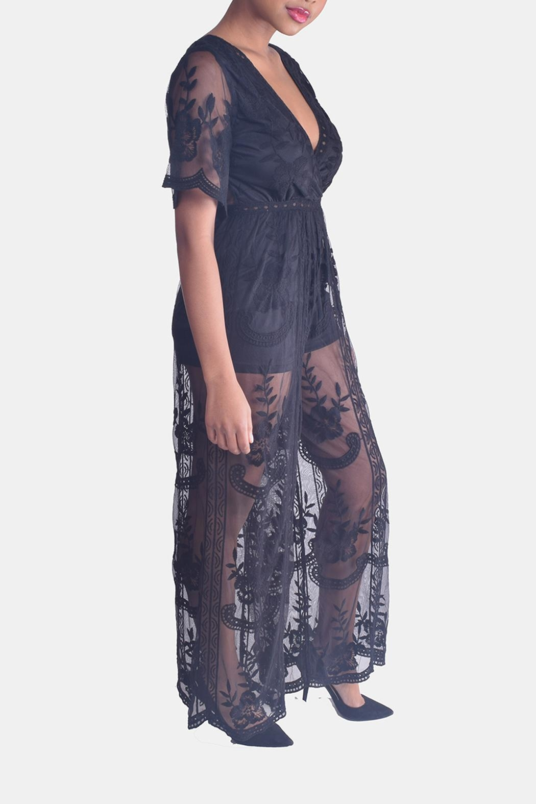 Honey Punch Butterfly Lace Jumpsuit - Side Cropped Image