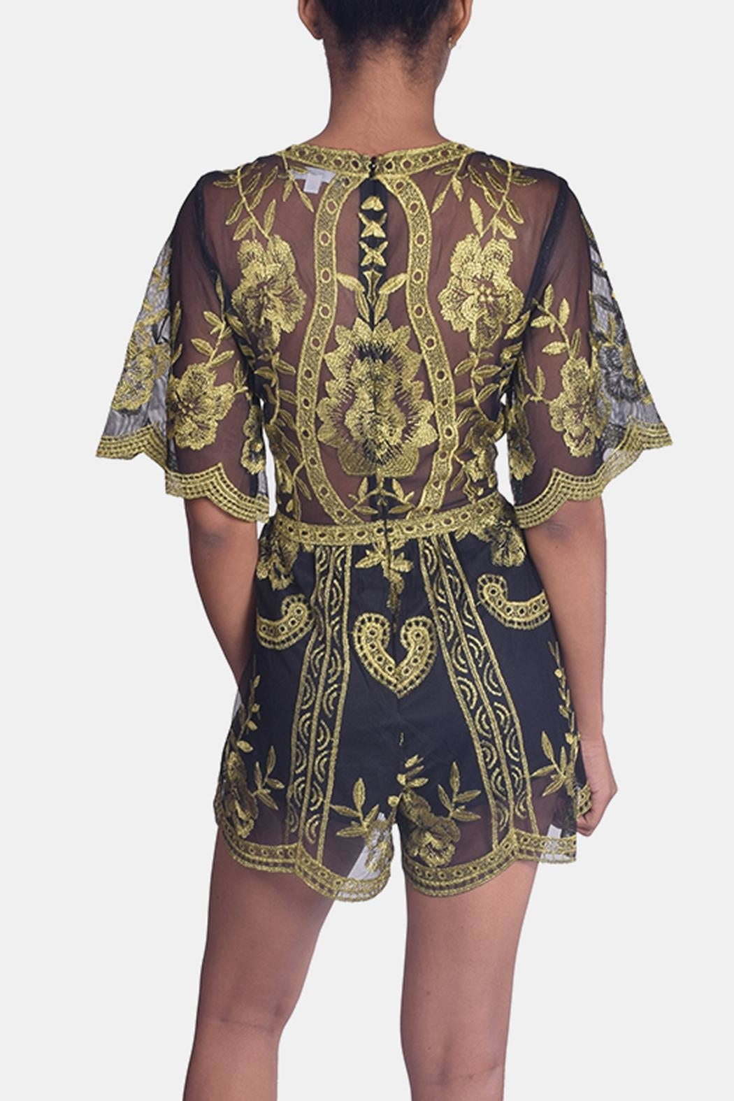 Honey Punch Butterfly Lace Romper - Back Cropped Image