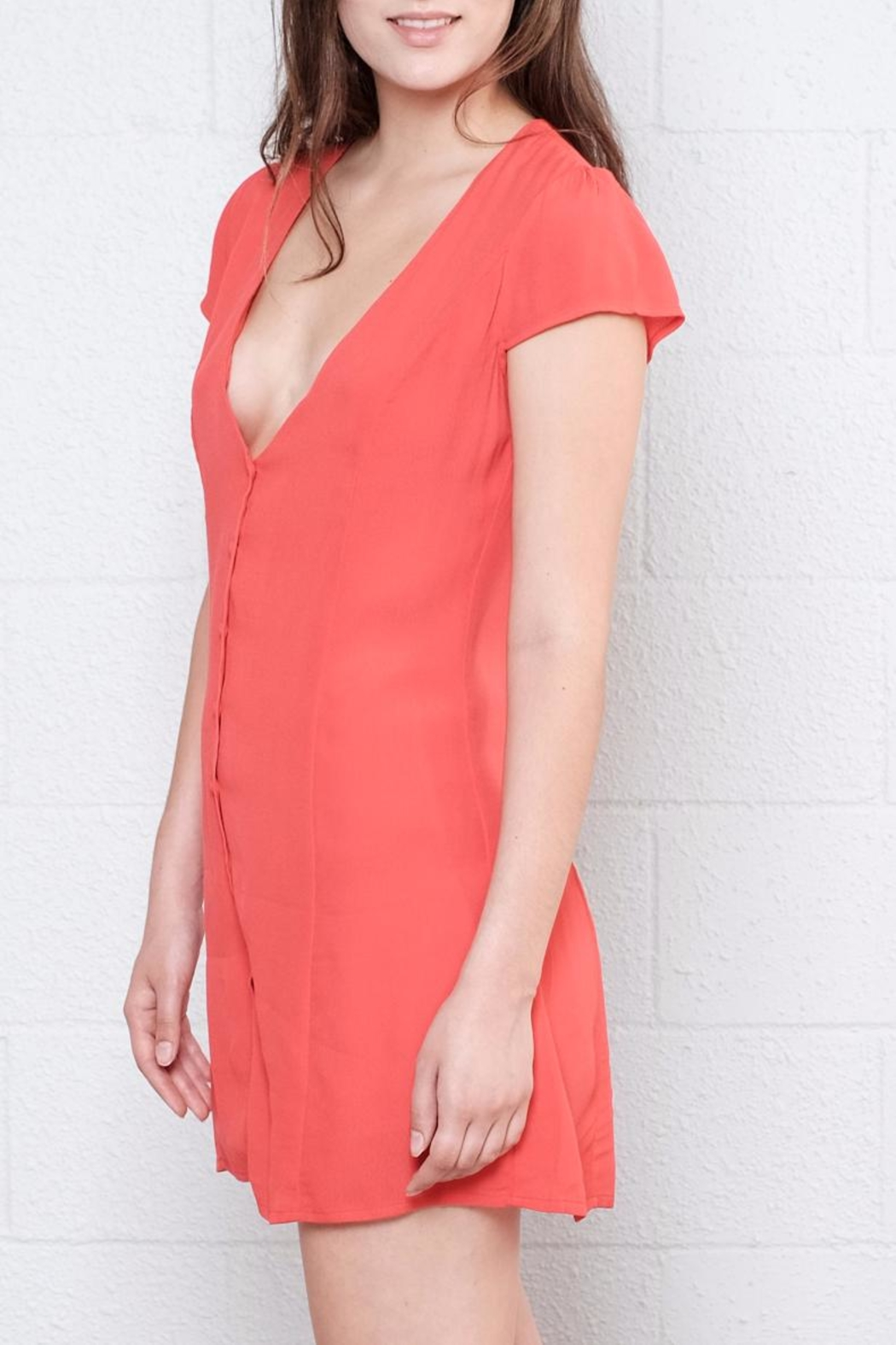Honey Punch Button Down Dress - Side Cropped Image