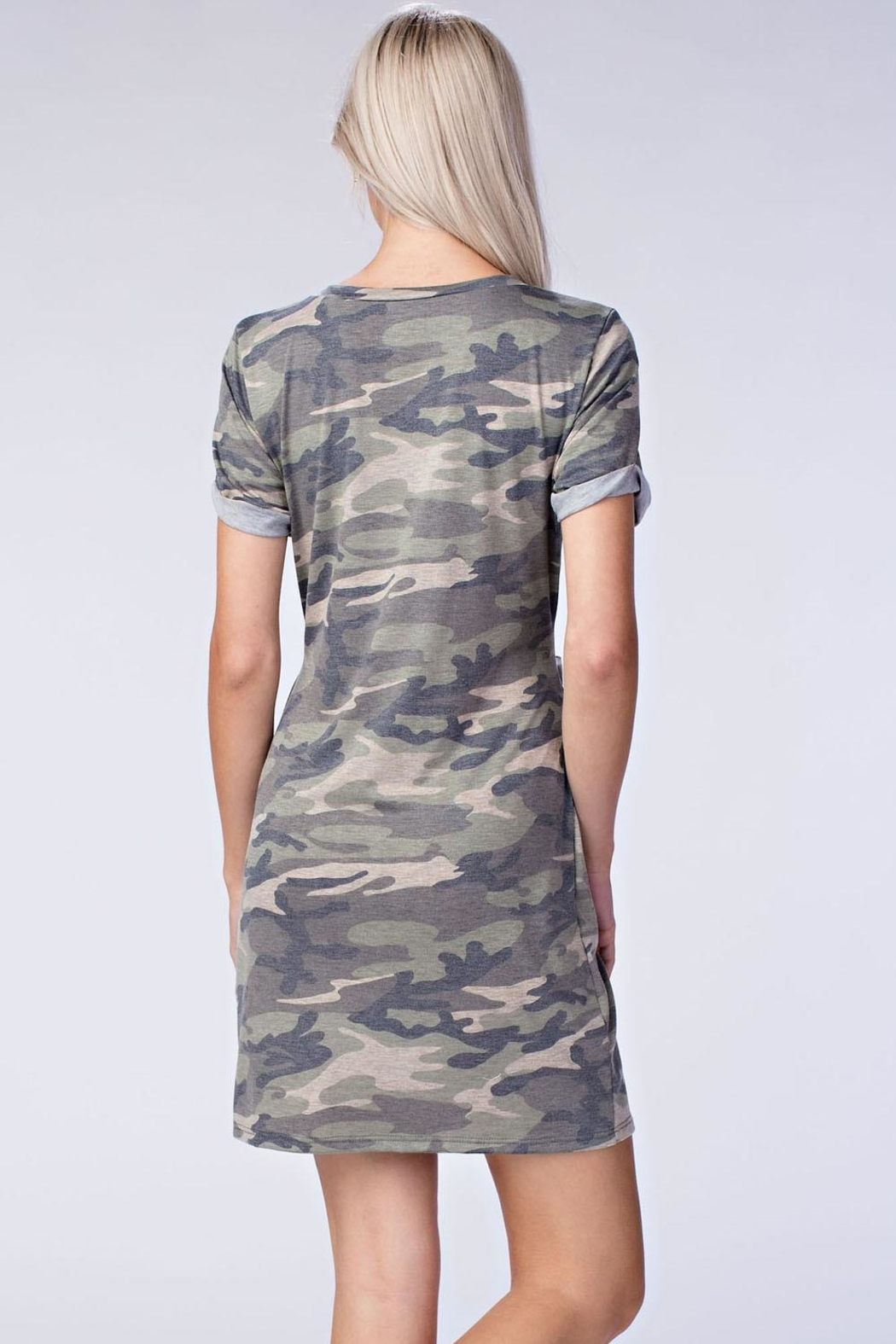 Honey Punch Camo Cut Out Dress - Side Cropped Image