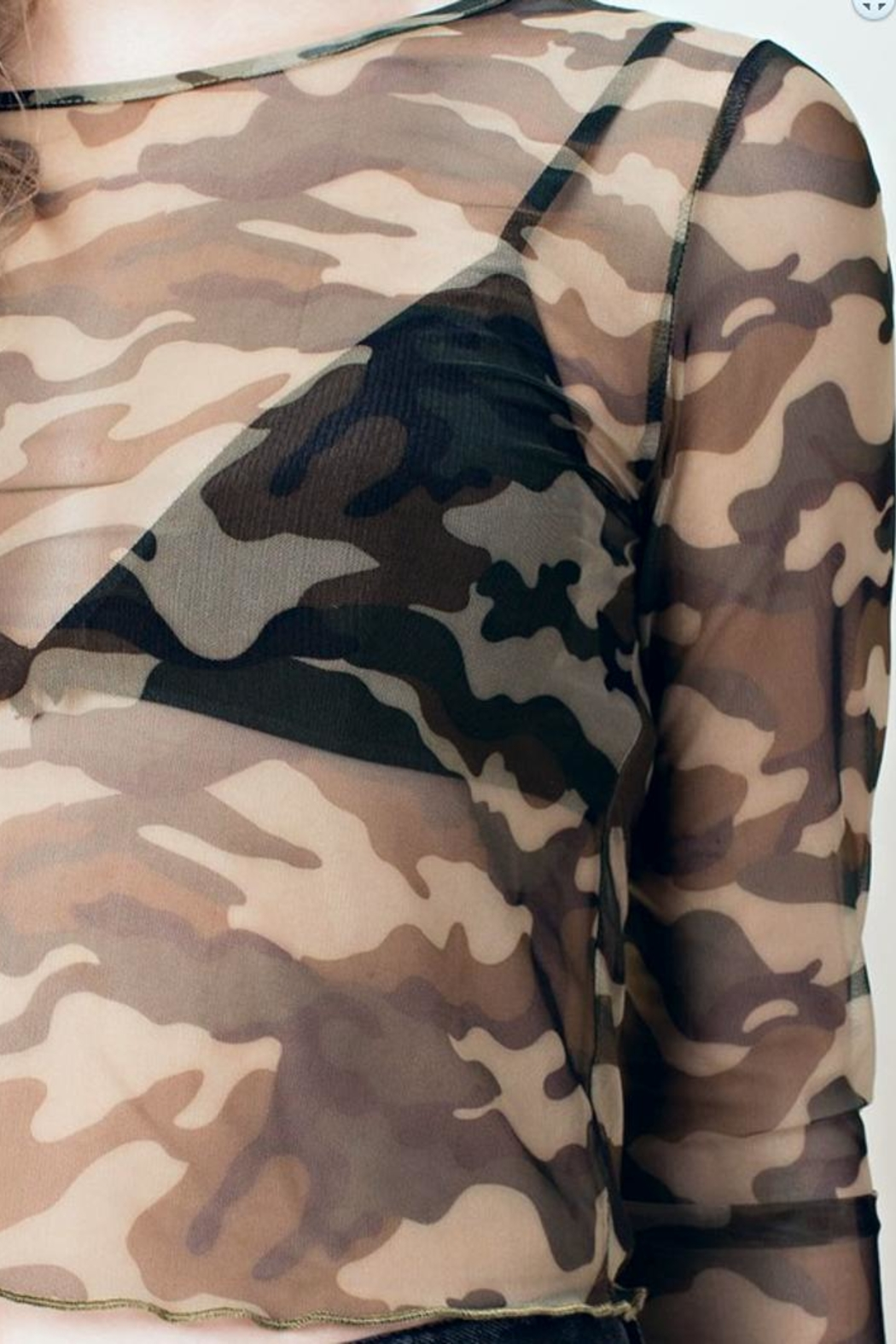 Honey Punch Camo Mesh Crop-Top - Side Cropped Image