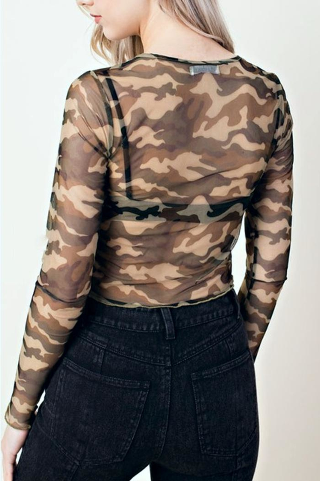 Honey Punch Camo Mesh Crop-Top - Back Cropped Image