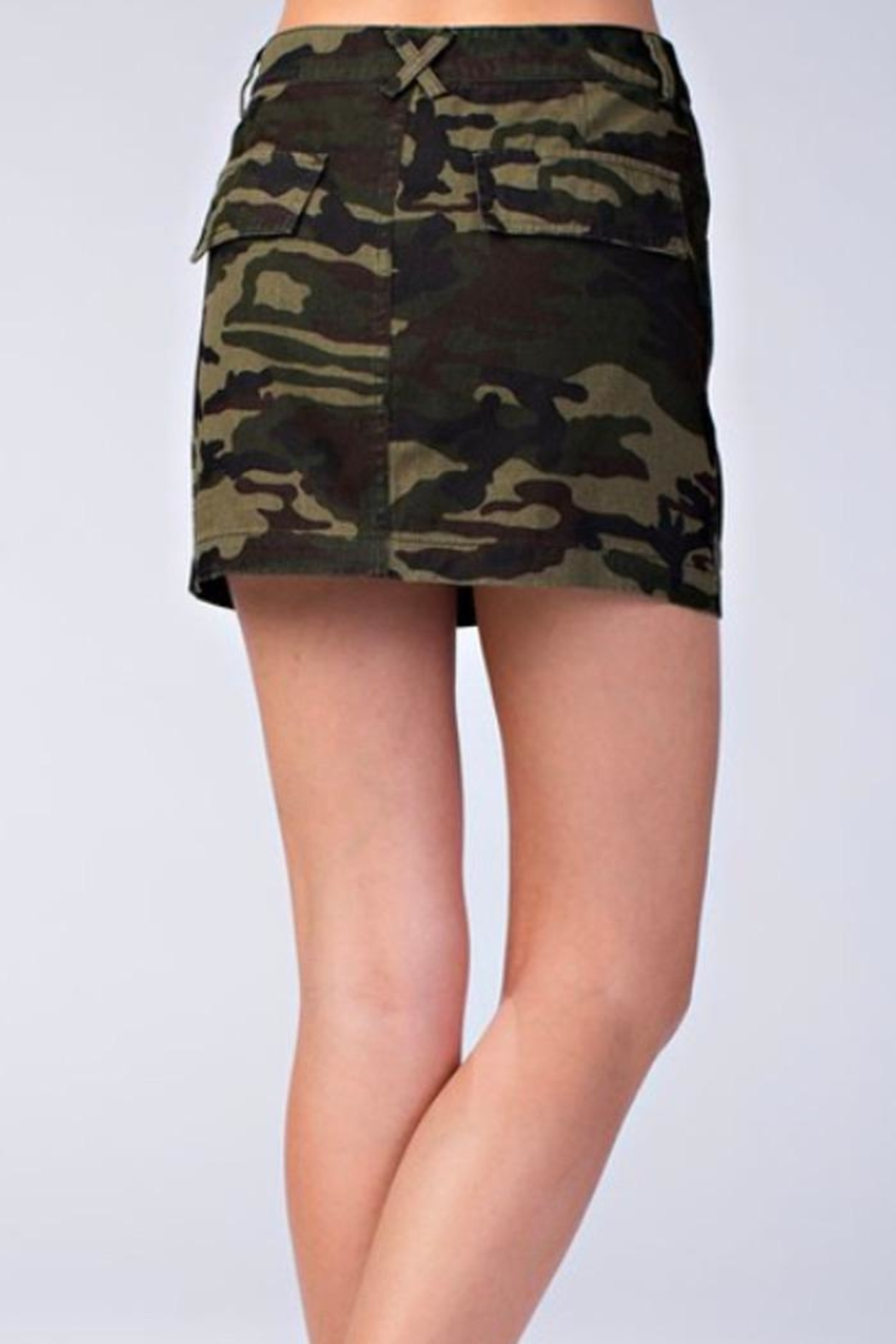 Honey Punch Camo Skirt - Side Cropped Image