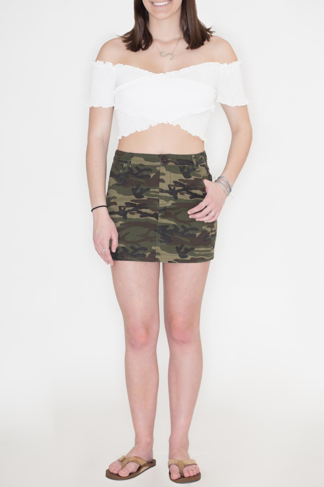 Honey Punch Camouflage Skirt - Front Cropped Image