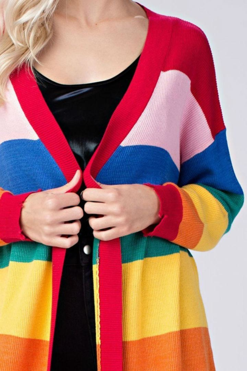 Honey Punch Candy Striped Cardigan - Front Full Image