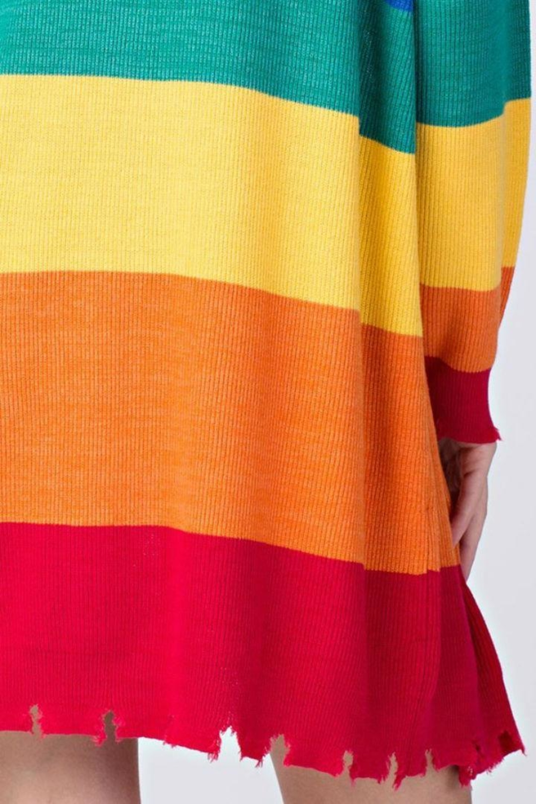 Honey Punch Candy Striped Cardigan - Back Cropped Image