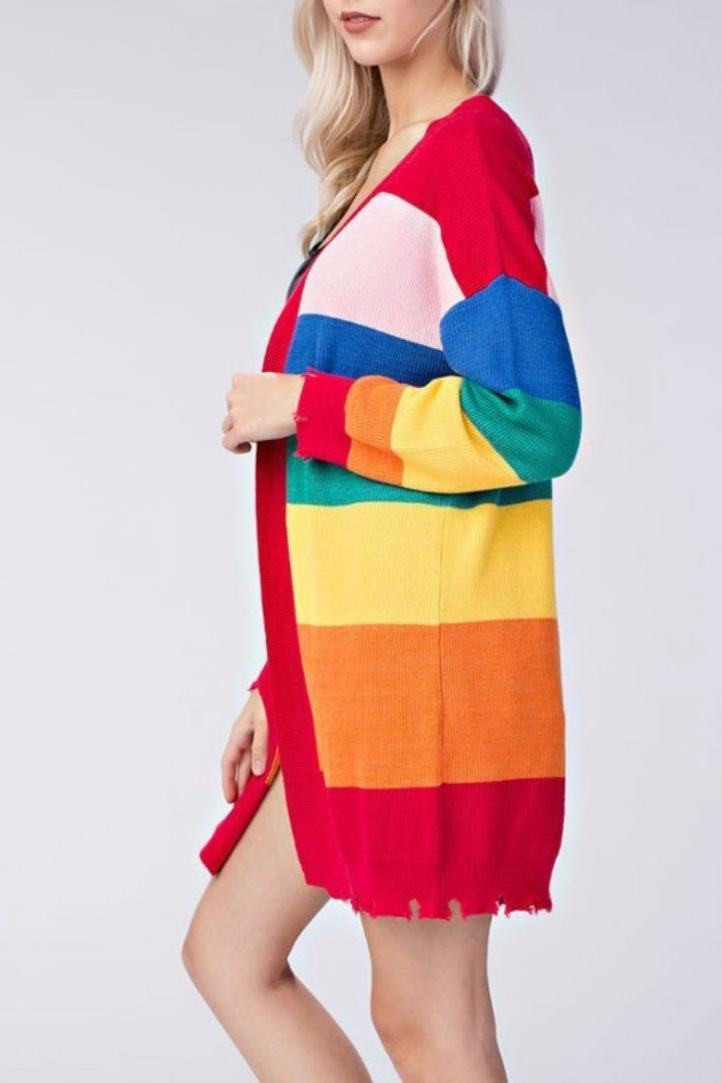 Honey Punch Candy Striped Cardigan - Side Cropped Image