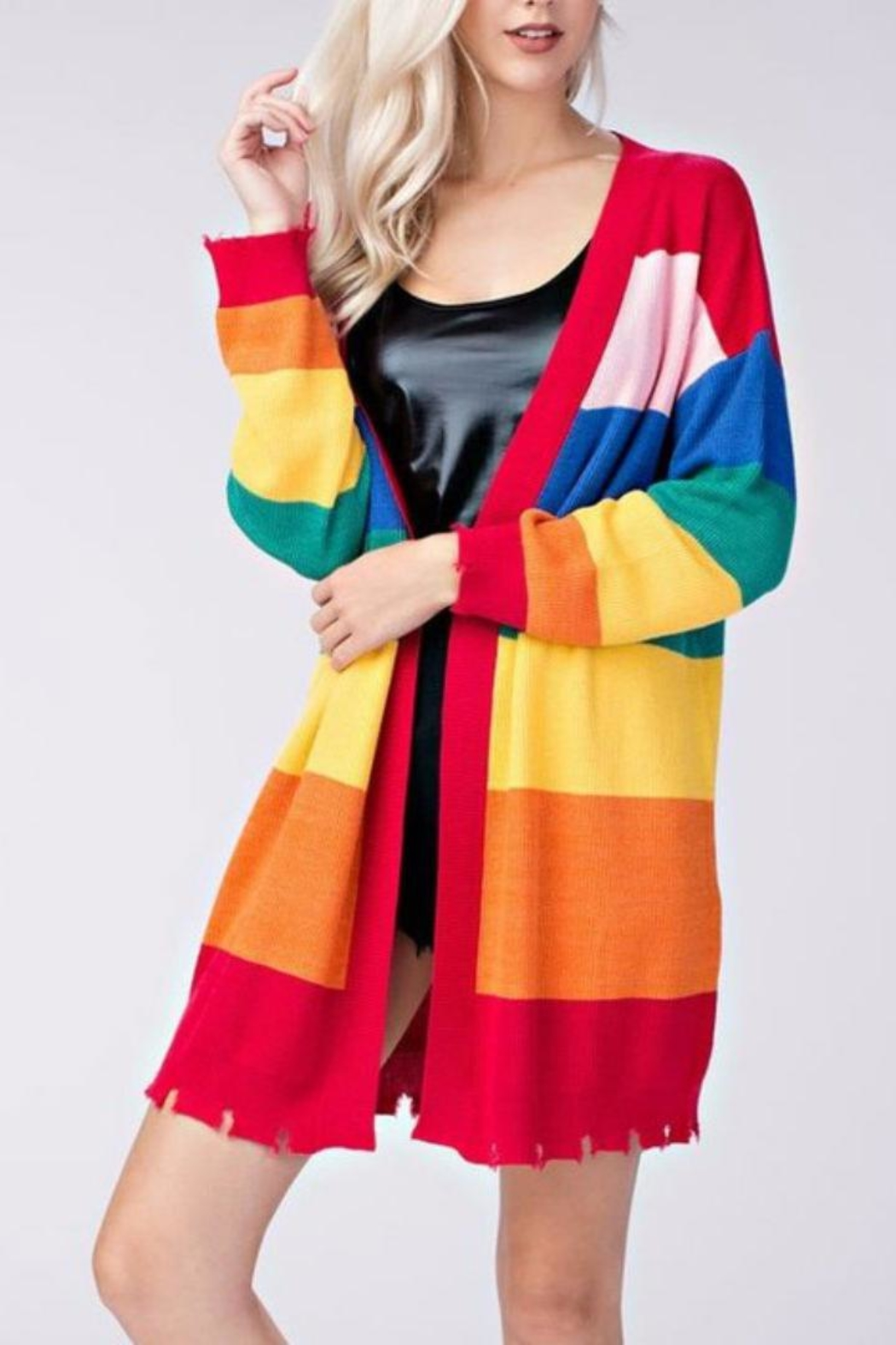 Honey Punch Candy Striped Cardigan - Main Image