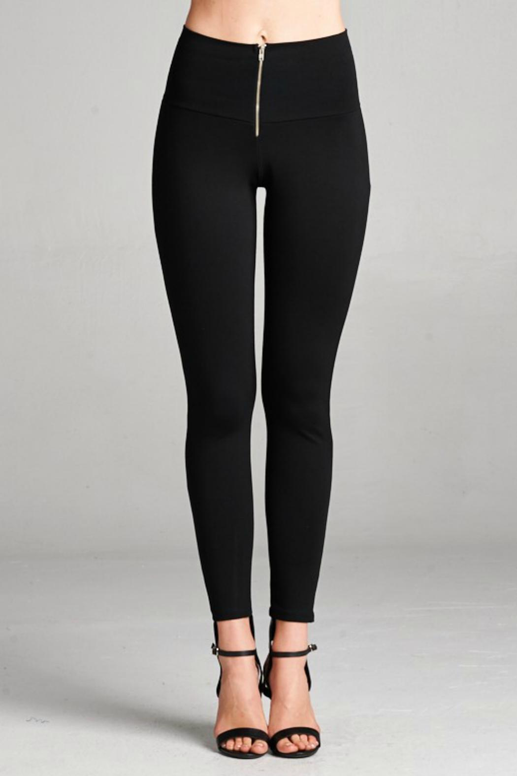 Honey Punch Casual Front-Zipper Leggings - Front Cropped Image