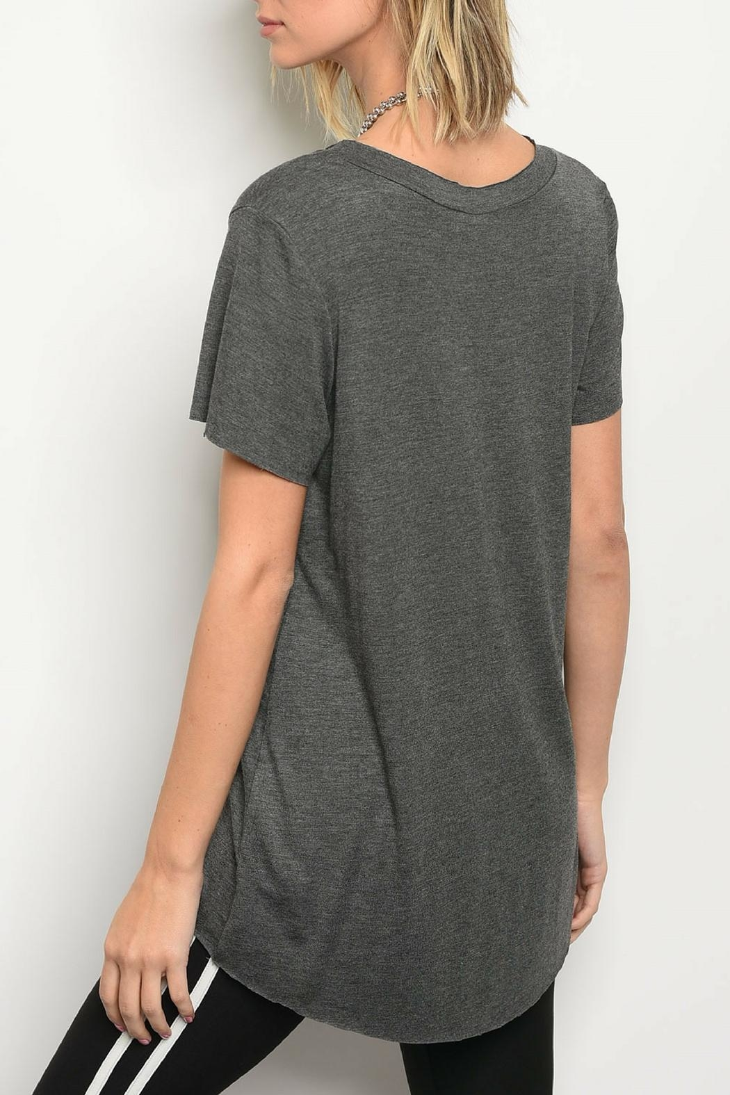 Honey Punch Charcoal Jersey Tee - Front Full Image
