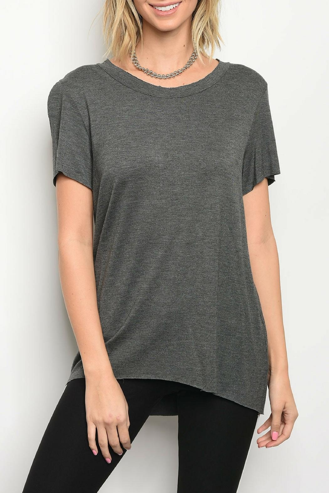 Honey Punch Charcoal Jersey Tee - Main Image