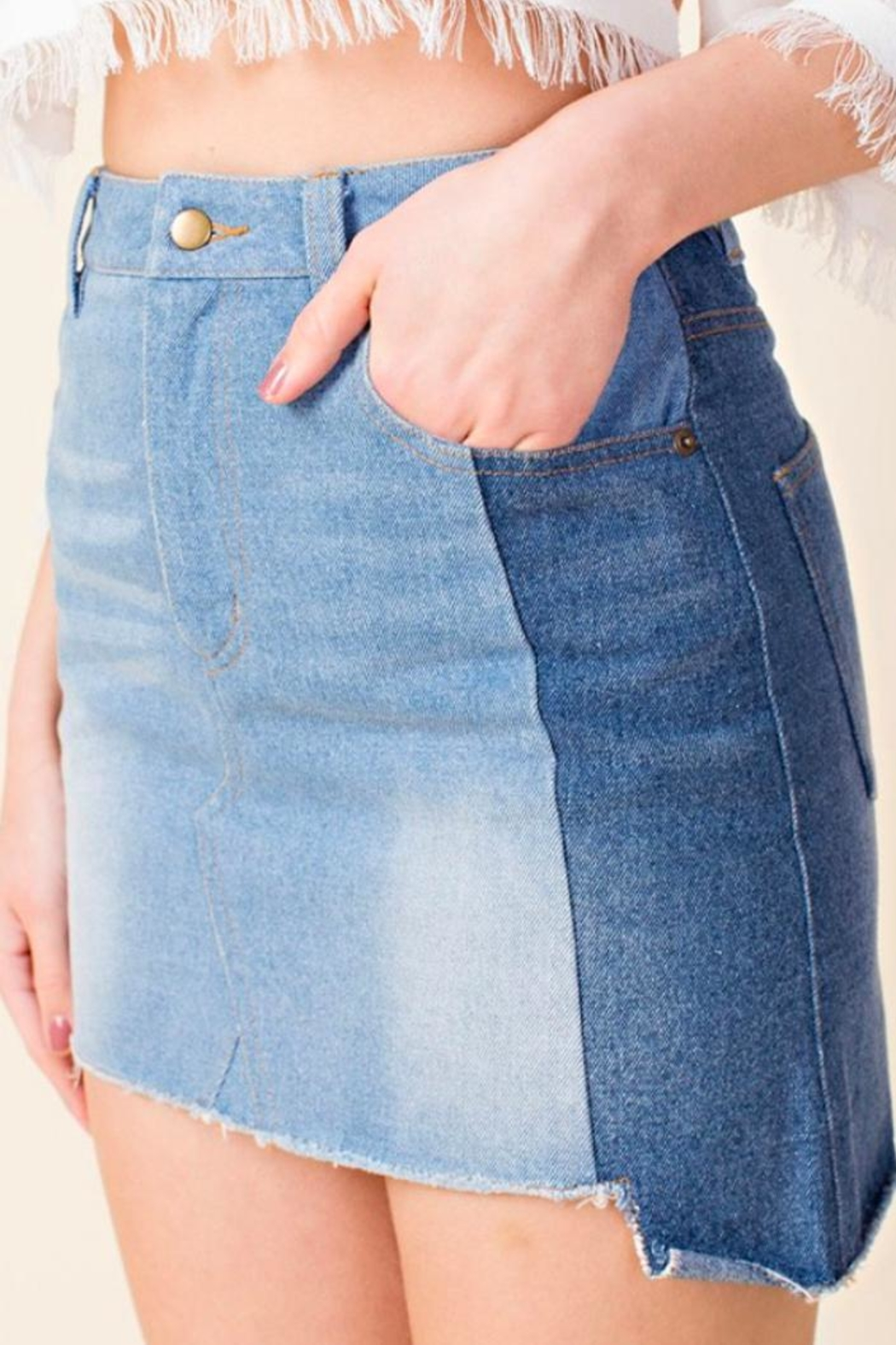 Honey Punch Colorblock Denim Skirt - Front Cropped Image
