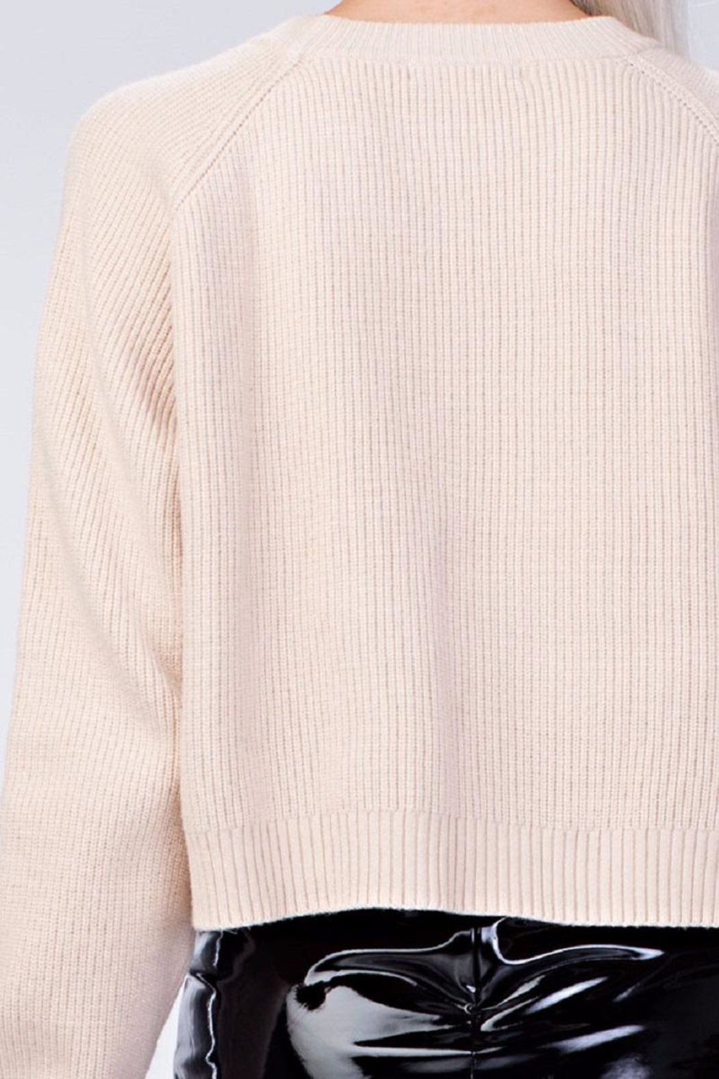 Honey Punch Cream Crop Sweater - Front Full Image