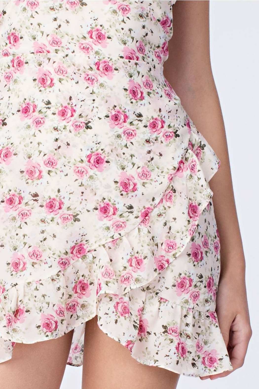 Honey Punch Cream Floral Dress - Side Cropped Image