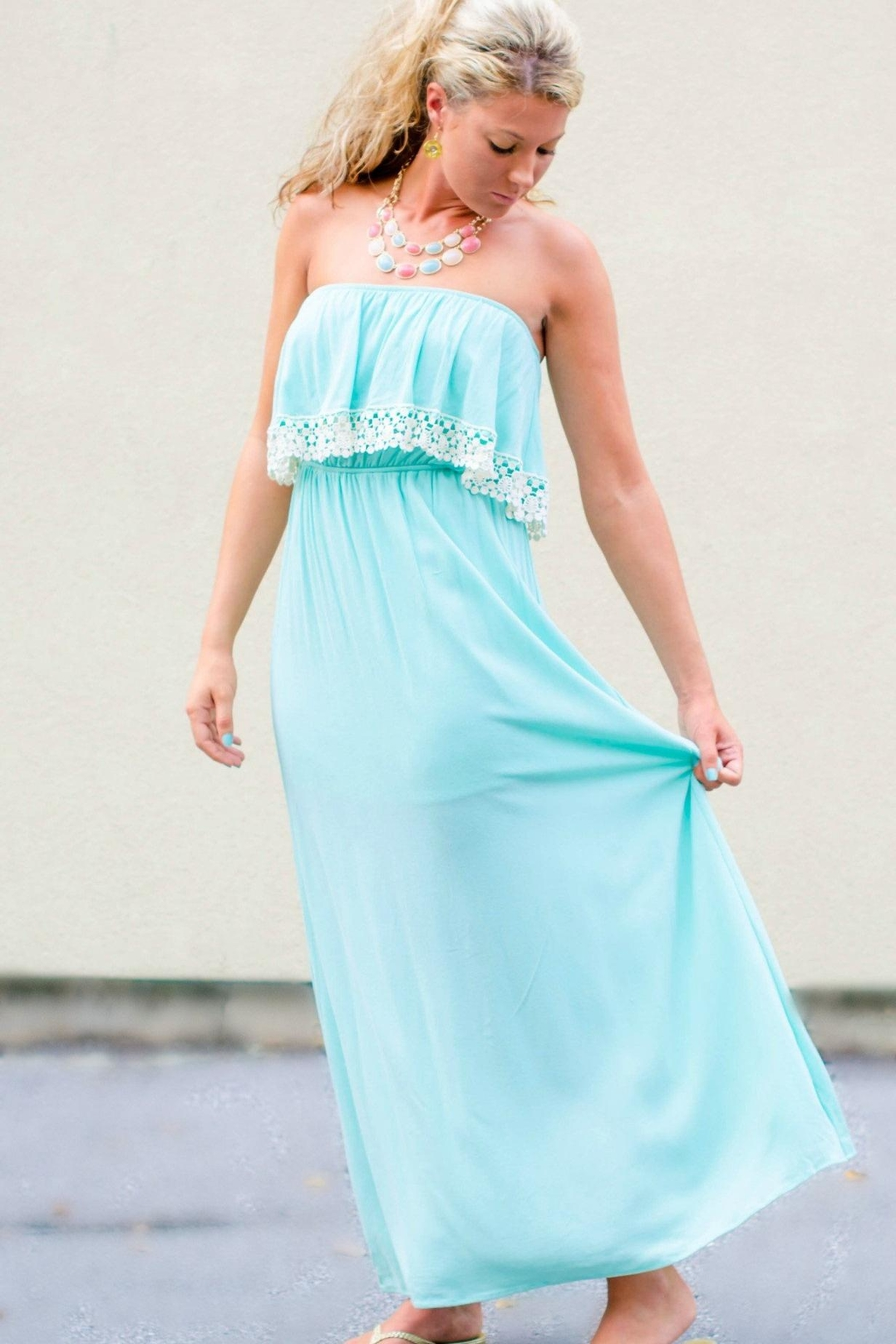 Honey Punch Crochet Trim Maxi - Side Cropped Image