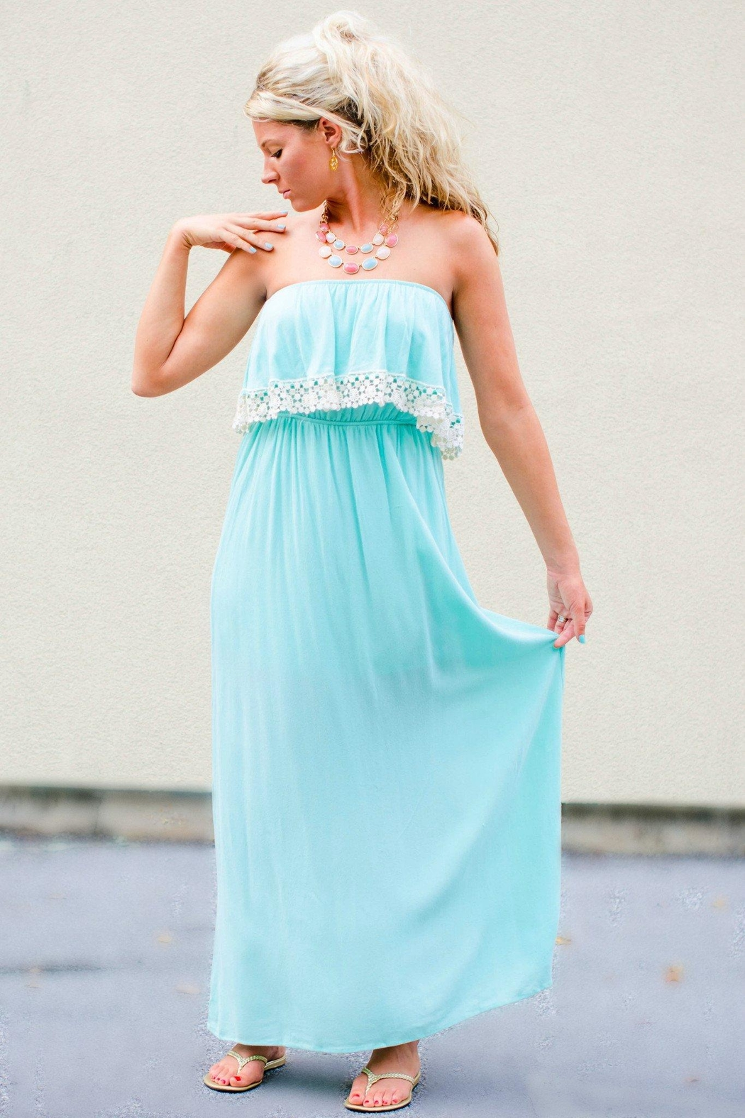 Honey Punch Crochet Trim Maxi - Front Cropped Image