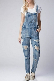 Honey Punch Distressed Denim Overalls - Product Mini Image