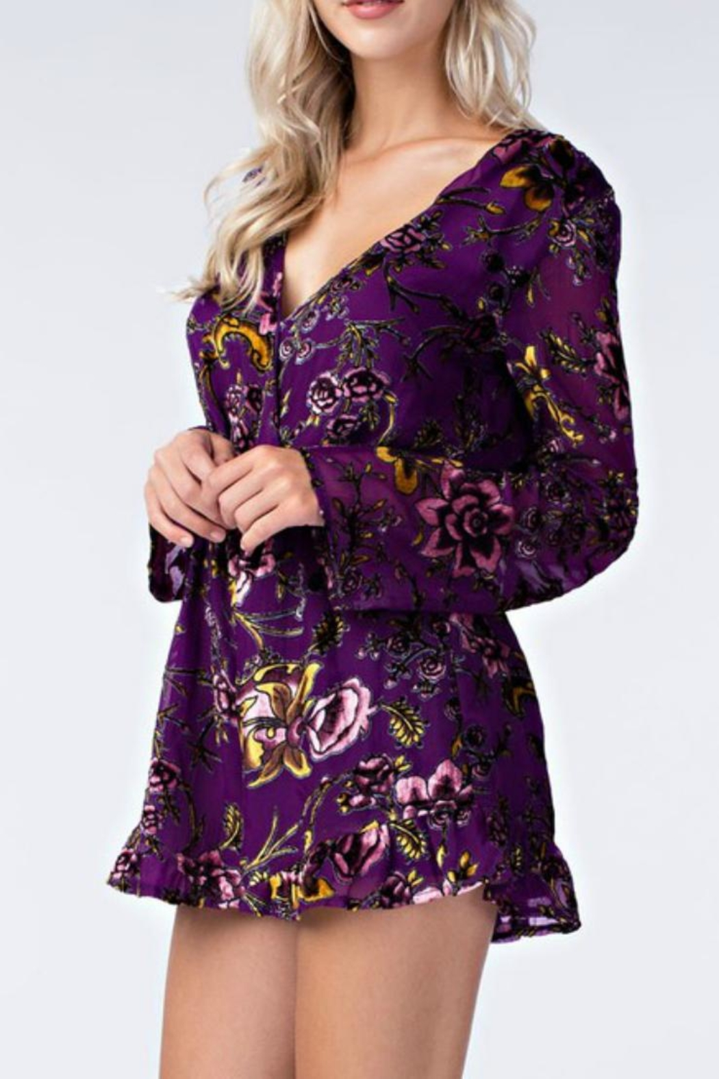 Honey Punch Floral Purple Romper - Front Full Image