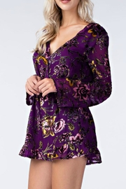 Honey Punch Floral Purple Romper - Front full body