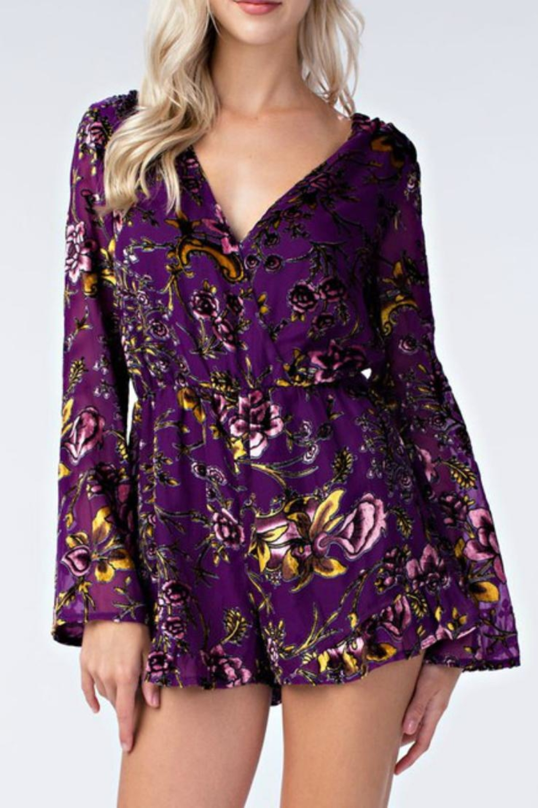 Honey Punch Floral Purple Romper - Main Image