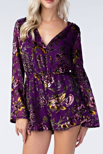 4ab32a2a8682f Honey Punch Floral Purple Romper from Tennessee by Threads — Shoptiques