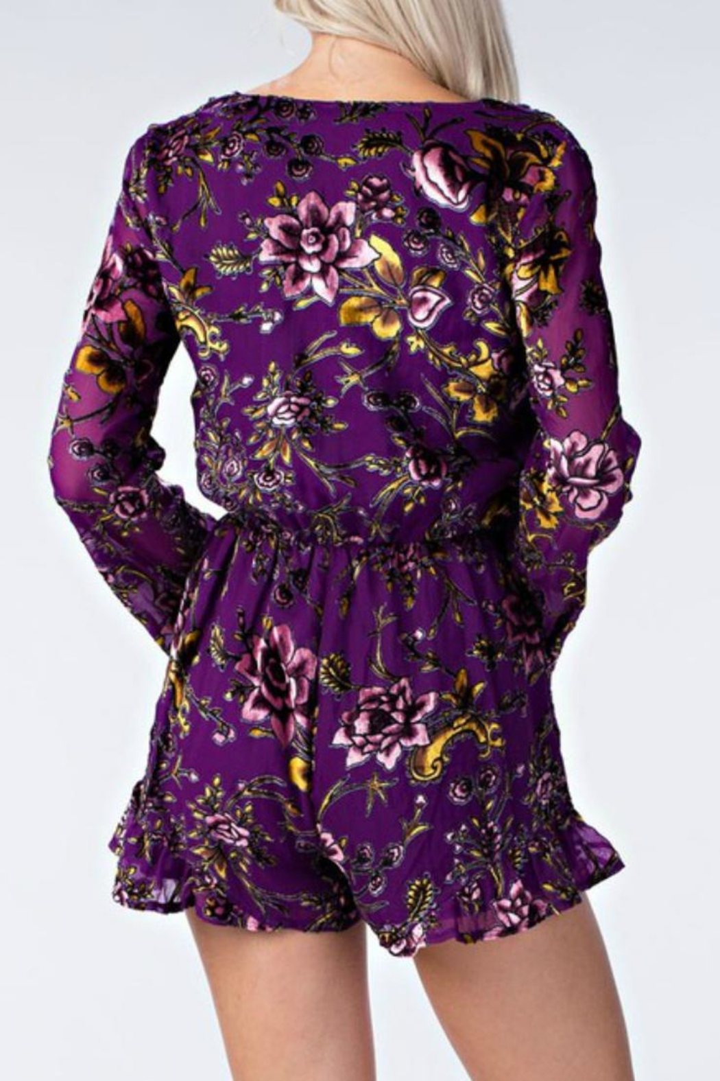 Honey Punch Floral Purple Romper - Side Cropped Image