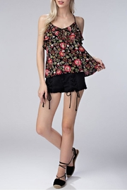 Honey Punch Floral Ruffle Tank Top - Front full body